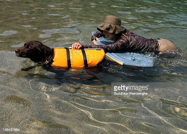 Japanese woman and her pet dog bath swim at Takeno Beach on July 28 2012 in Toyooka Japan This beach is especially open for dogs and their owners...