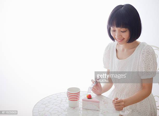Japanese woman and toy cake set