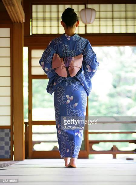 A Japanese woman dressed in yukata