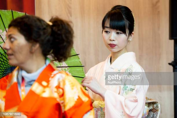 Japanese woman during performance about Kimono in Japan stand at FITUR International Tourism Fair at Ifema 24 January 2019
