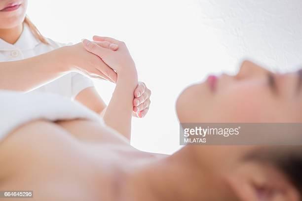 Japanese woman get a massage