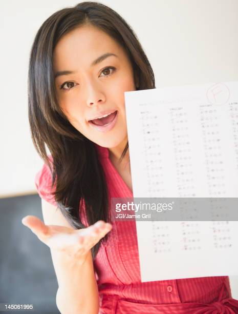 Japanese woman holding failing test