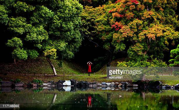 Japanese woman in a red dress