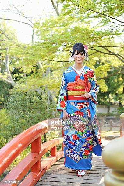 japanese woman in a traditional kimono - obi sash stock pictures, royalty-free photos & images