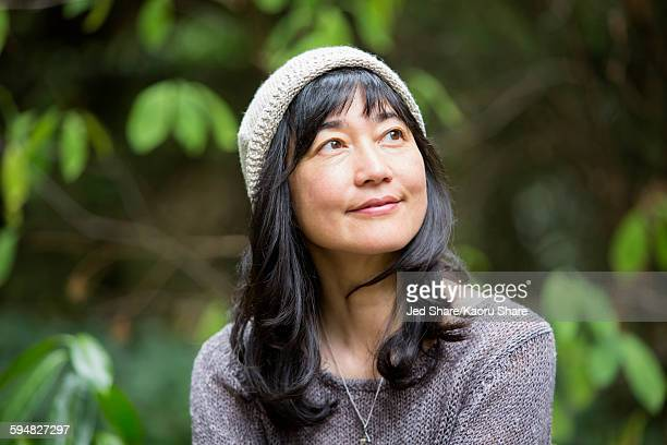 japanese woman in garden - asian 50 to 55 years old woman stock photos and pictures