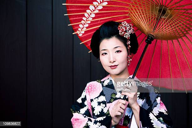 Japanese Woman in Kimono and Parasol