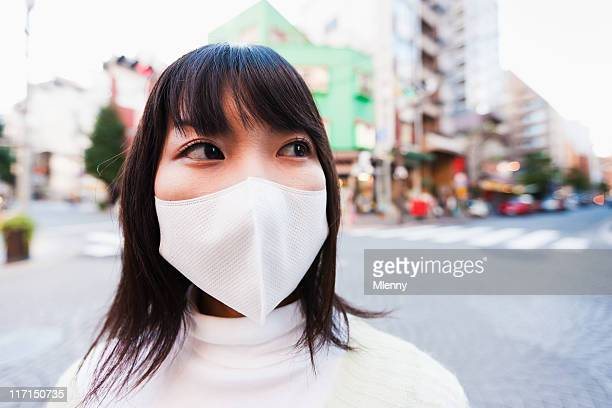 Japanese Woman in Tokyo with Facial Protection Mask