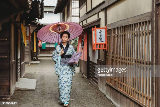 Japanese woman in traditional village