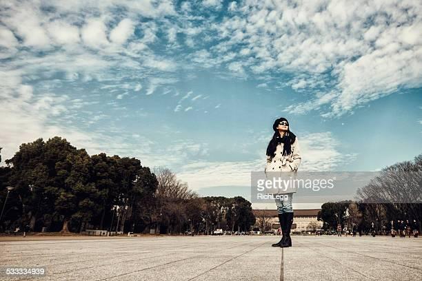 上野公園で日本の女性