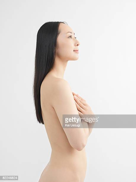Japanese woman looking up, nude