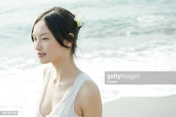Japanese woman on beach