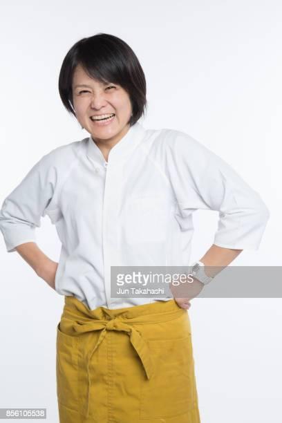 japanese woman on white back ground - ショートヘア ストックフォトと画像
