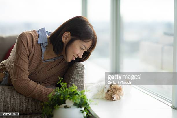 Japanese woman playing with beige and white cat on windowsill