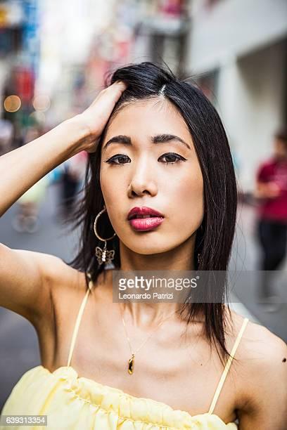 Japanese woman portrait in the street of Shibuya, Tokyo