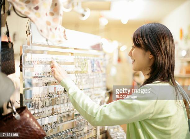 Japanese woman shopping with smiling