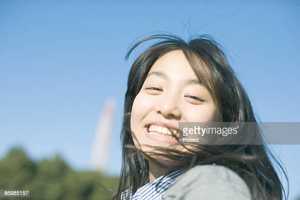 Japanese woman smiling, portrait