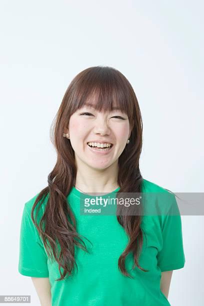 japanese woman smiling, portrait - ロングヘア ストックフォトと画像