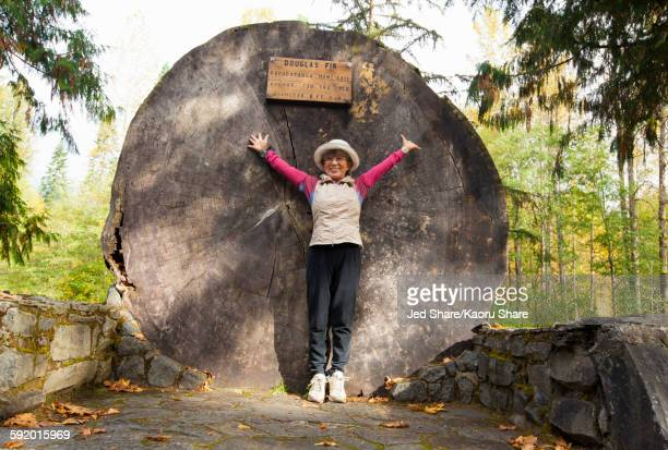 Japanese woman standing by massive tree stump in forest