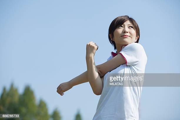 Japanese woman to the stretch