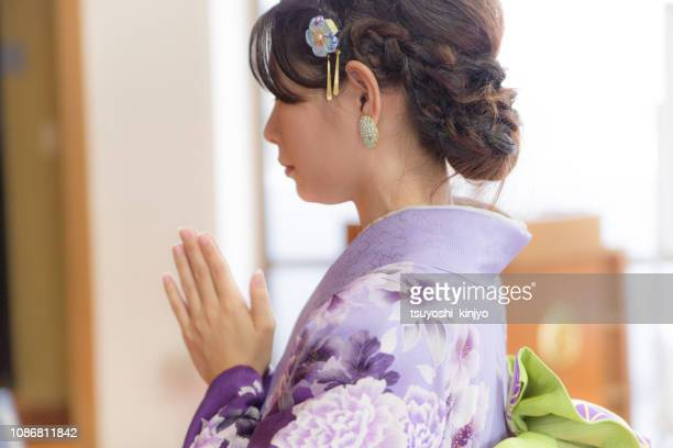 japanese woman wearing a kimono,worship - shrine stock pictures, royalty-free photos & images