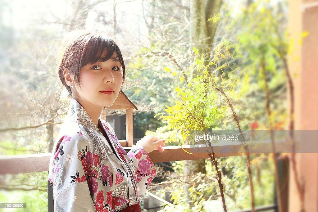Japanese woman wearing yukata. : Stock Photo