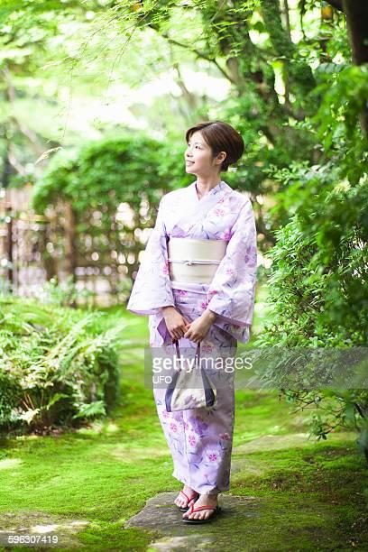 Japanese woman wearing yukata