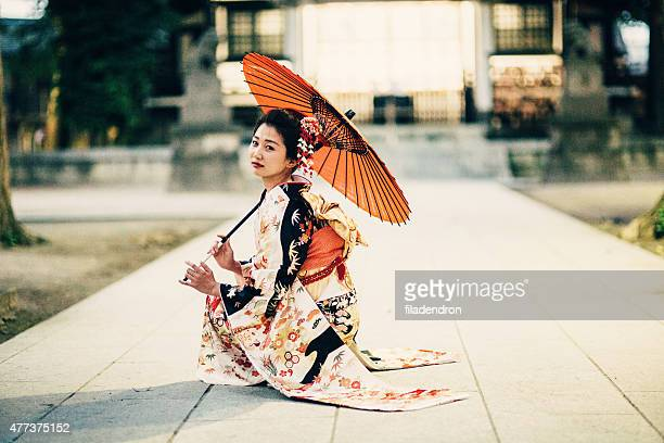 Japanese woman with oil paper umbrella
