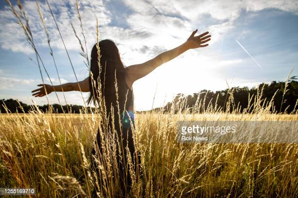 japanese woman with open arms in field - human arm stock-fotos und bilder