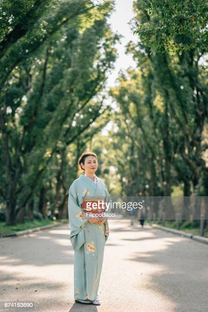 Japanese woman with typical yukata clothes