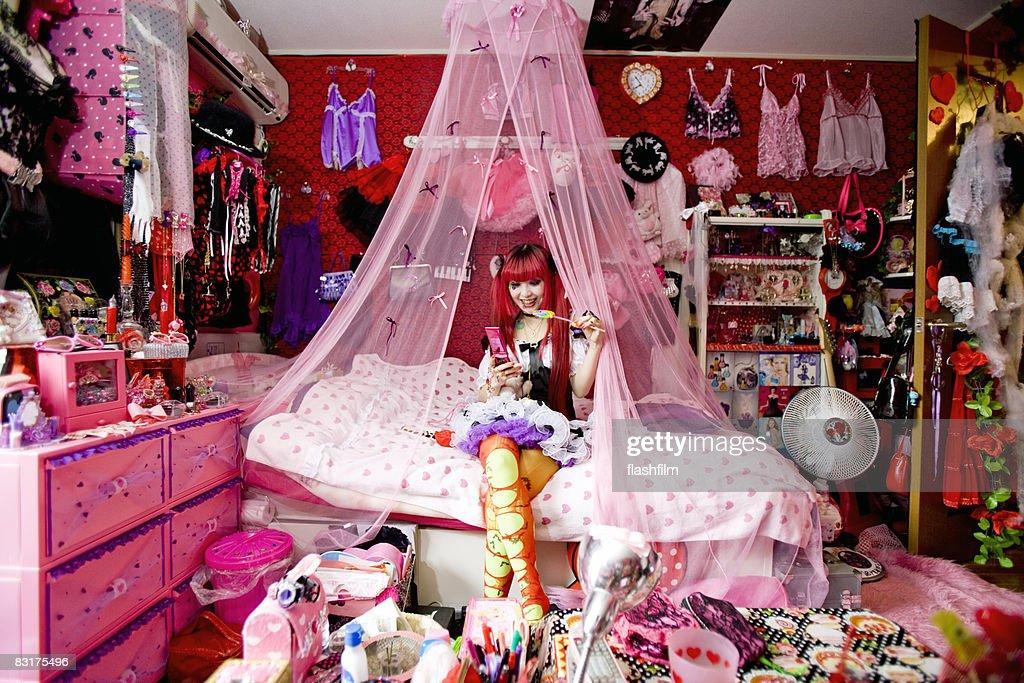 Japanese woman's bedroom : Stock Photo