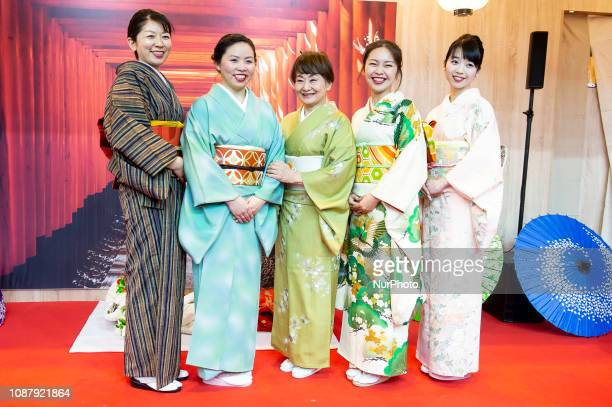 Japanese women during performance about Kimono in Japan stand at FITUR International Tourism Fair at Ifema 24 January 2019