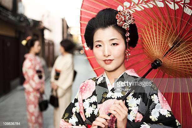 Japanese Women in Kimono and Parasol