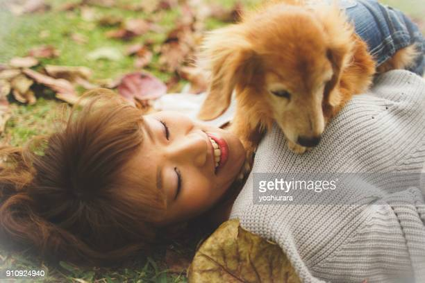 Japanese women relax with dogs
