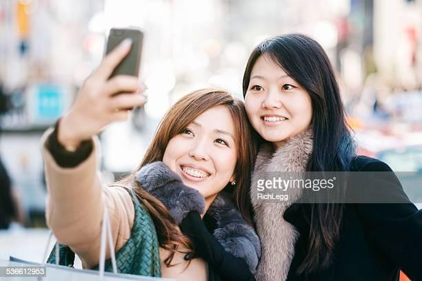 Japanese Women taking Ginza Selfie