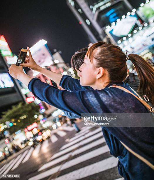 Japanese women walking on the street