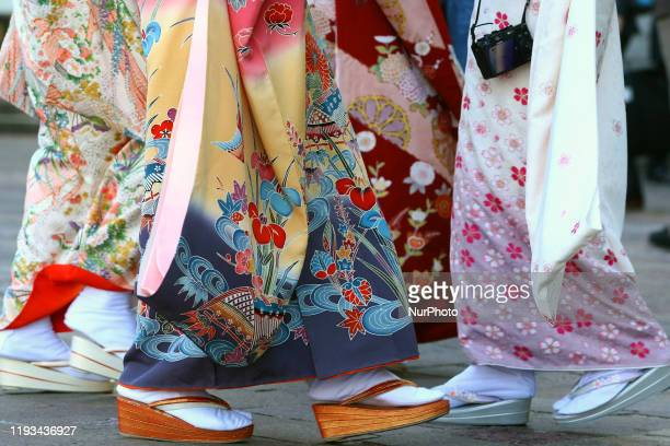 Japanese women wearing kimonos attend their Coming of Age Day celebration ceremony in Tokyo, Japan January 13, 2020.