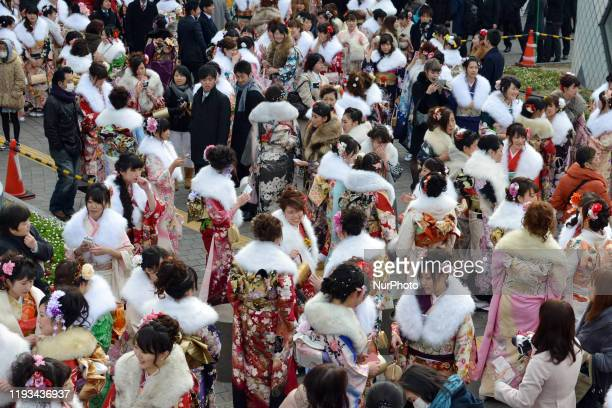Japanese women wearing kimonos attend their Coming of Age Day celebration ceremony in Tokyo Japan January 13 2020