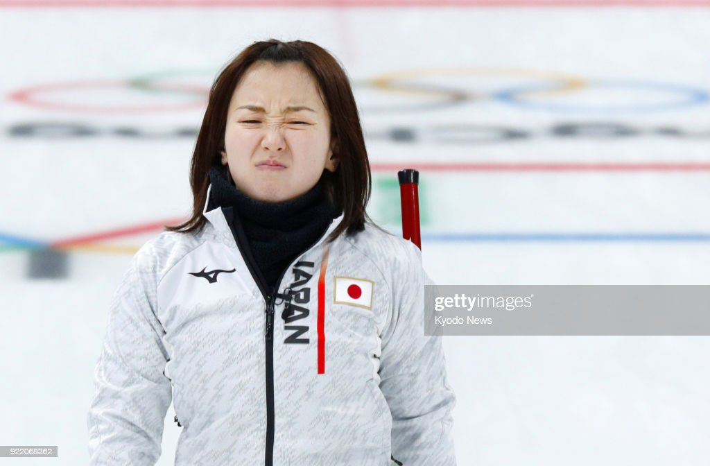 Japanese women's curling team skip Satsuki Fujisawa grimaces after failing a shot against Switzerland during a round-robin session match in Gangneung, South Korea, at the Pyeongchang Winter Olympics on Feb. 21, 2018. ==Kyodo