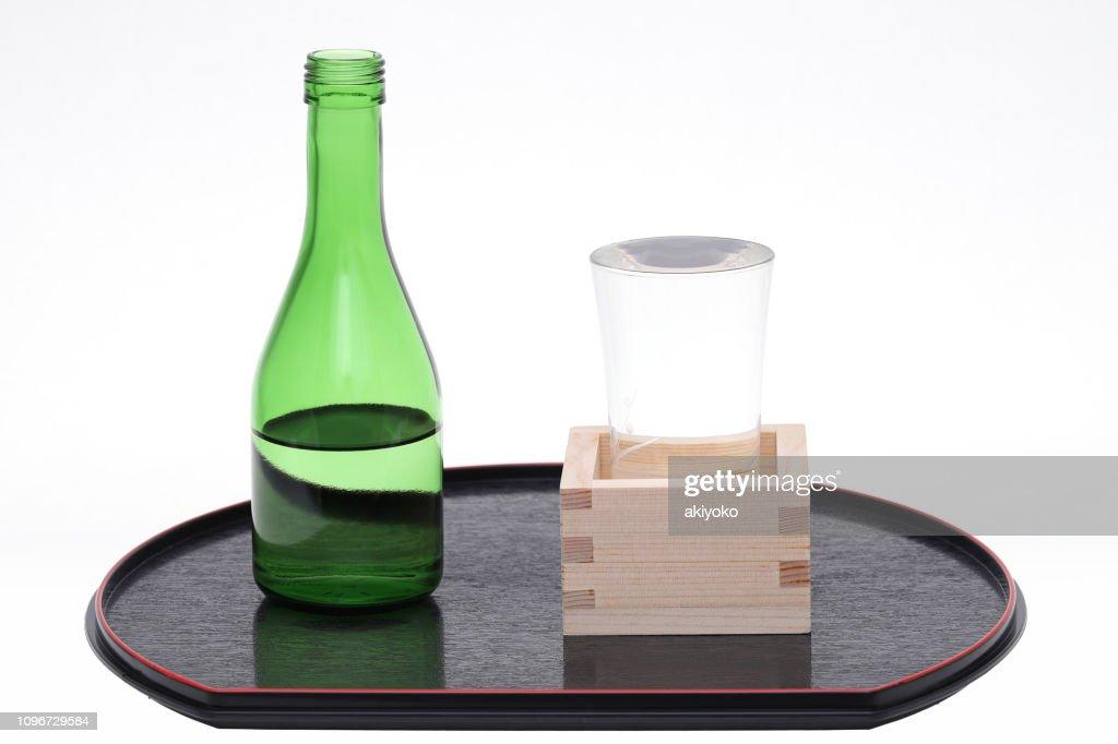 Japanese wooden box masu with sake : Stock Photo