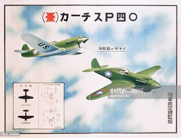 Japanese World War II Poster for Aircraft Identification Curtis P40 Warhawk
