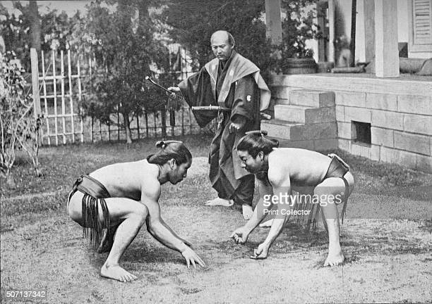 Japanese Wrestlers Ready for a Go', c1902, . Sumo wrestling c1902. From The Sports of the World, by F. G. Aflalo, F.R.G.S., F.Z.S. [Cassell and...