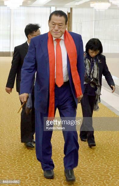 Japanese wrestlerturnedlawmaker Antonio Inoki is pictured at Pyongyang international airport on Sept 11 before flying back to Japan via Beijing Inoki...