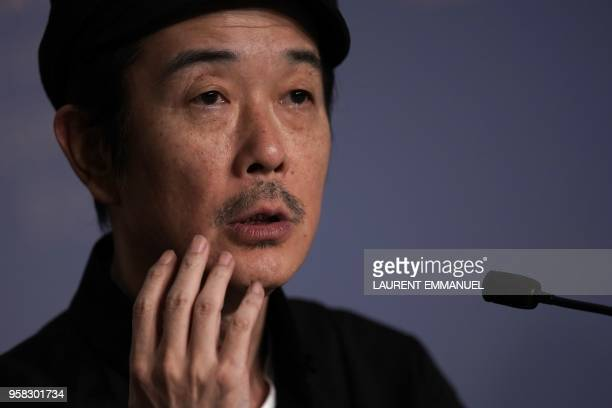 Japanese writer and actor Lily Franky attends on May 14 2018 a press conference for the film Shoplifters at the 71st edition of the Cannes Film...