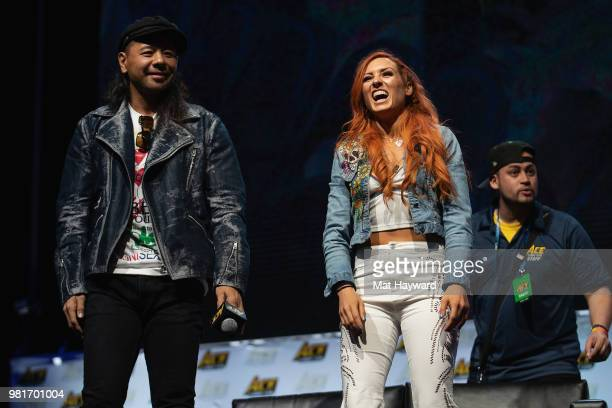 Japanese WWE Professional Wrestler Shinsuke Nakamura and Irish WWE Professional Wrestler Becky Lynch speak on stage during ACE Comic Con on June 22...