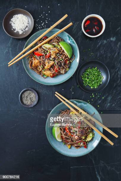 Japanese Yaki Soba noodles with chicken and vegetables