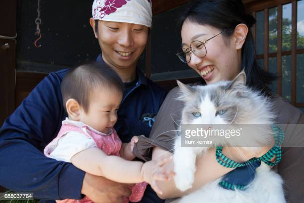 Japanese young family and cat