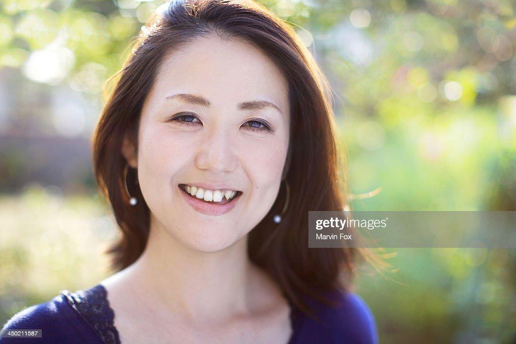 Japanese young woman headshot : Stock Photo