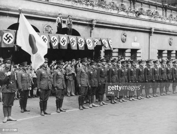 A Japanese youth delegation on arrival in Cologne Germany circa 1935