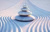 Japanese ZEN garden with textured sand - stock photo