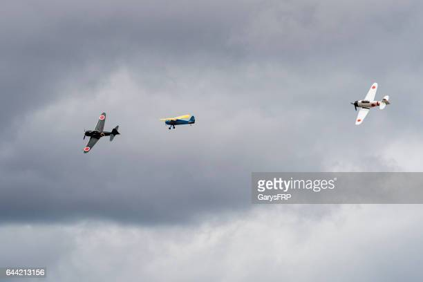 japanese zero a6m2 a6m3 and interstate cadet airshow 2016 oregon - mitsubishi a6m zero stock photos and pictures